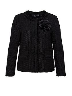 Boucle jacket with floral brooch detail