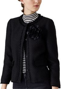 Hallhuber Boucle jacket with floral brooch detail