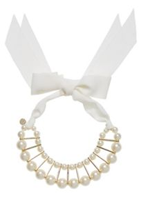 Hallhuber Beaded choker with ribbon sides