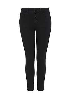 Buttoned skinny jeans with crop leg