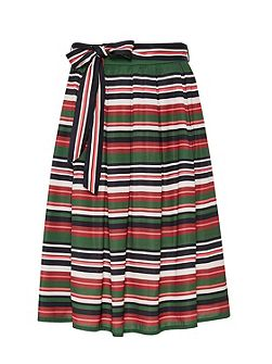 Striped midi skirt with belt