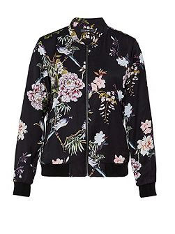 Satin bomber jacket with Asia-print