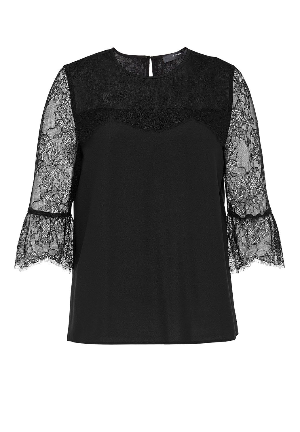 Hallhuber Pleated Lace Blouse, Black