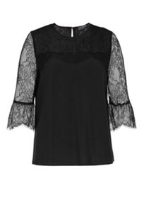 Hallhuber Pleated Lace Blouse