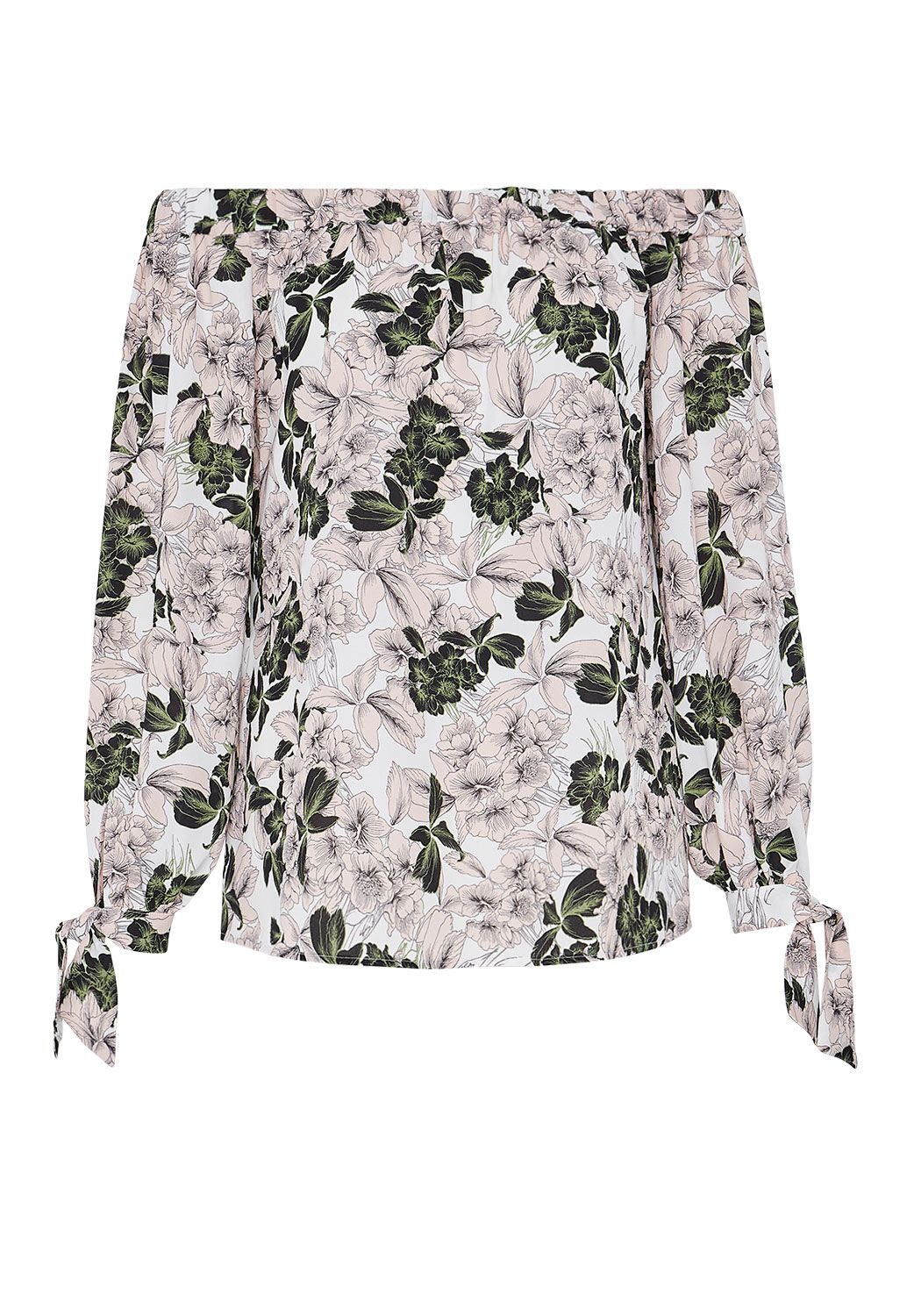 Hallhuber Floral Print Off-The-Shoulder Blouse, Multi-Coloured
