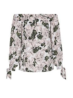 Floral Print Off-The-Shoulder Blouse