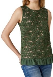 Hallhuber Lace Top With Contrast Lining