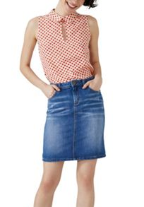 Hallhuber Rounded collar blouse with daisy print