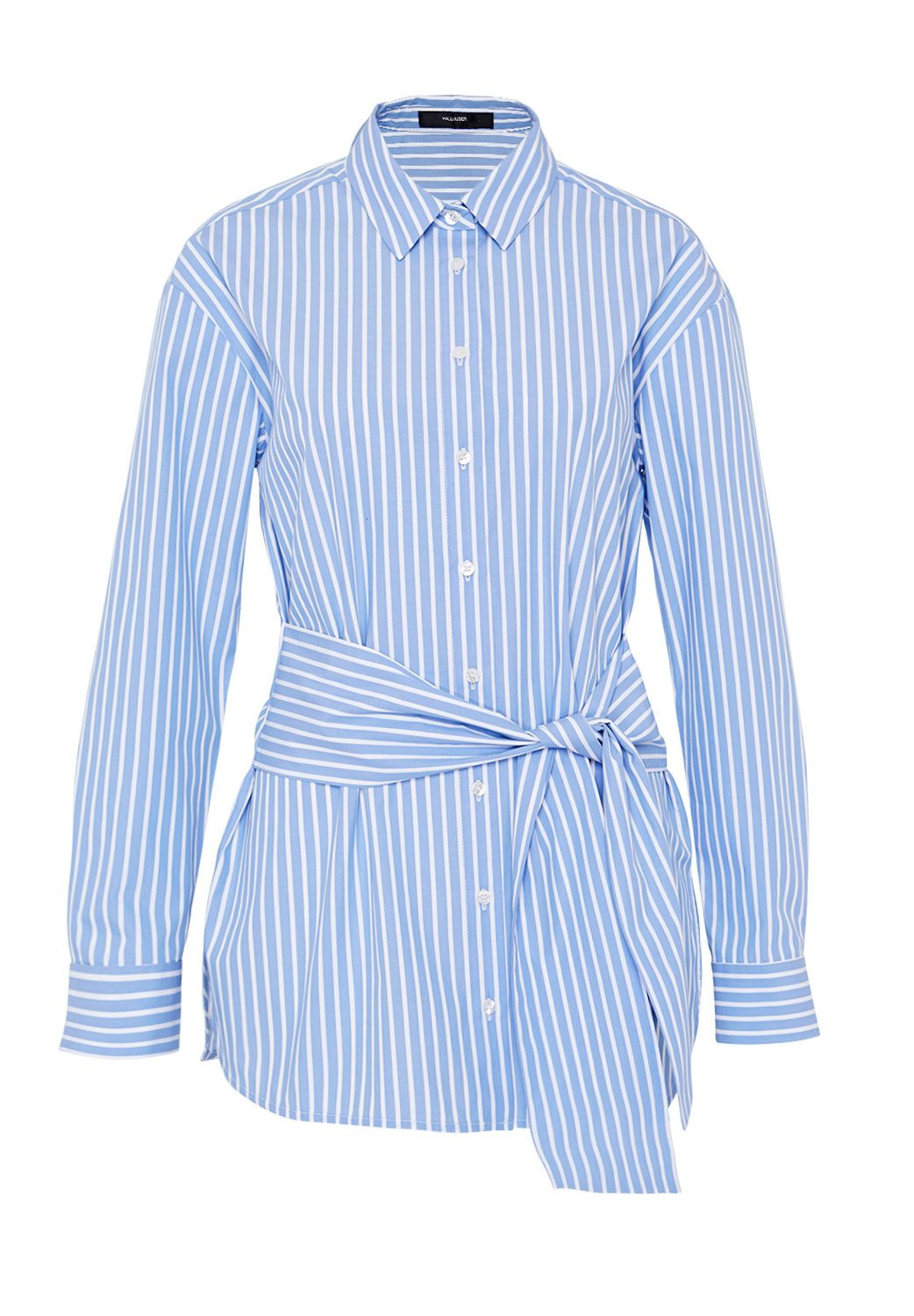 Hallhuber Long blouse with bow, Blue