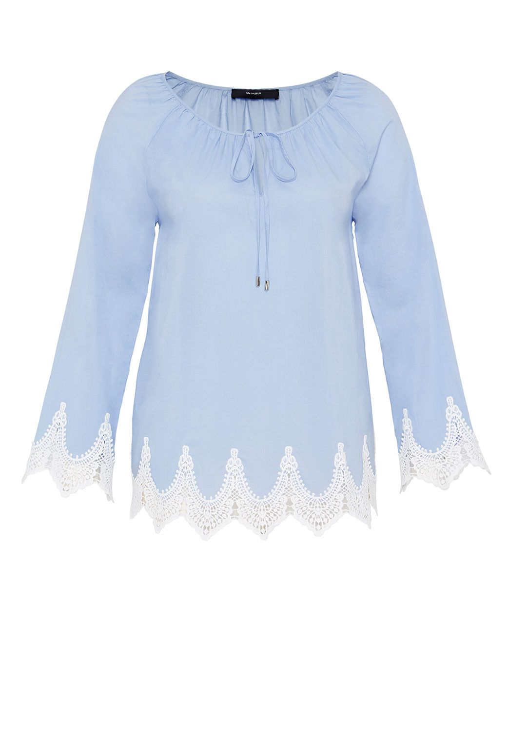 Hallhuber Raglan blouse with lace hem, Blue