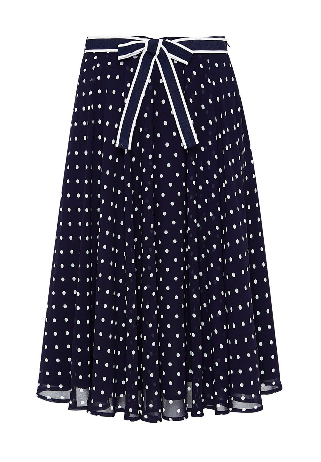 Hallhuber Swinging polka dot midi skirt, Blue