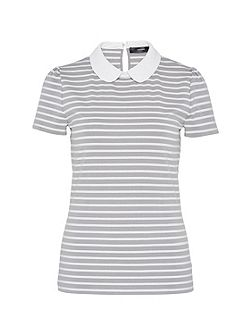 Striped round collar top