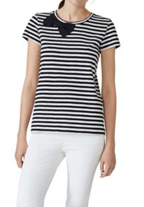 Hallhuber Stripe Top With Silk Bow