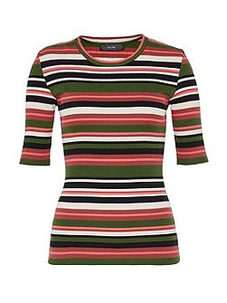 Striped T-shirt with rib texture