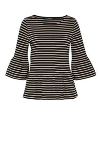Hallhuber Striped Top With Wide Ruffle
