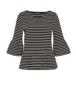 Striped Top With Wide Ruffle