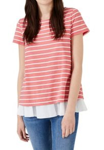 Hallhuber Striped A-line top with ruffle hem