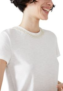 Hallhuber Beaded collar top with grosgrain ribbon