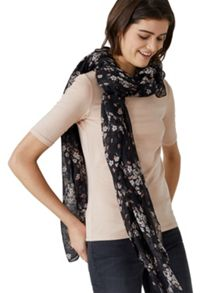Hallhuber Scarf With Scattered Flowers Print