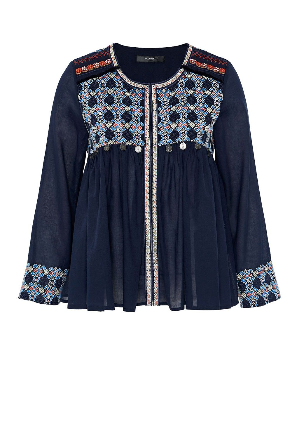 Hallhuber Ethnic jacket with decorative coins, Blue
