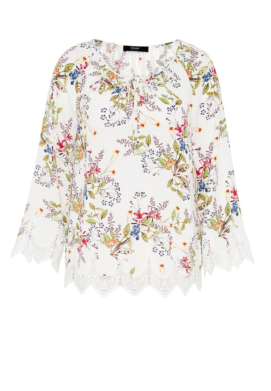 Hallhuber Tunic blouse with wide lace hems, Multi-Coloured
