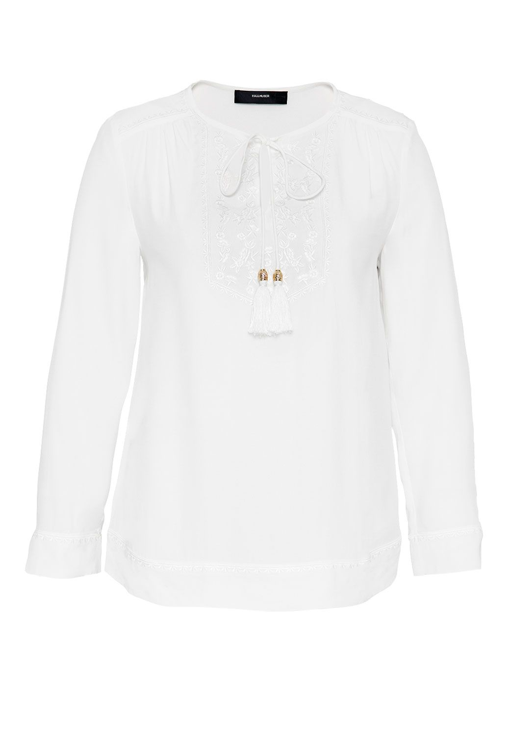 Hallhuber Embroidered tunic with tassel details, White