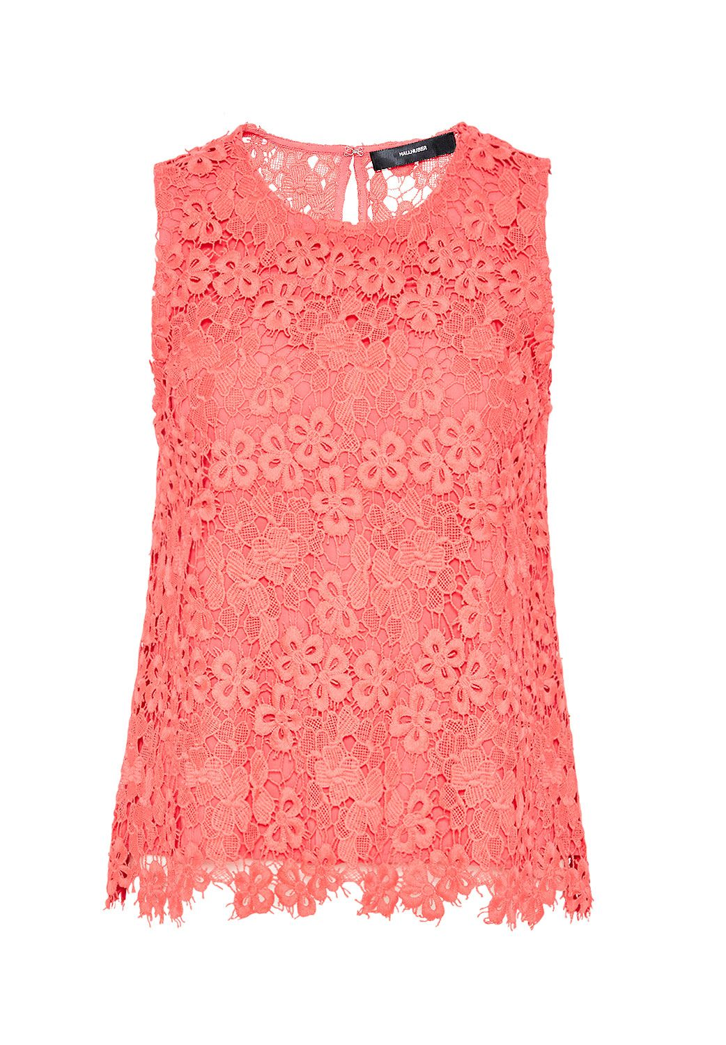 Hallhuber Back slit lace top, Pink