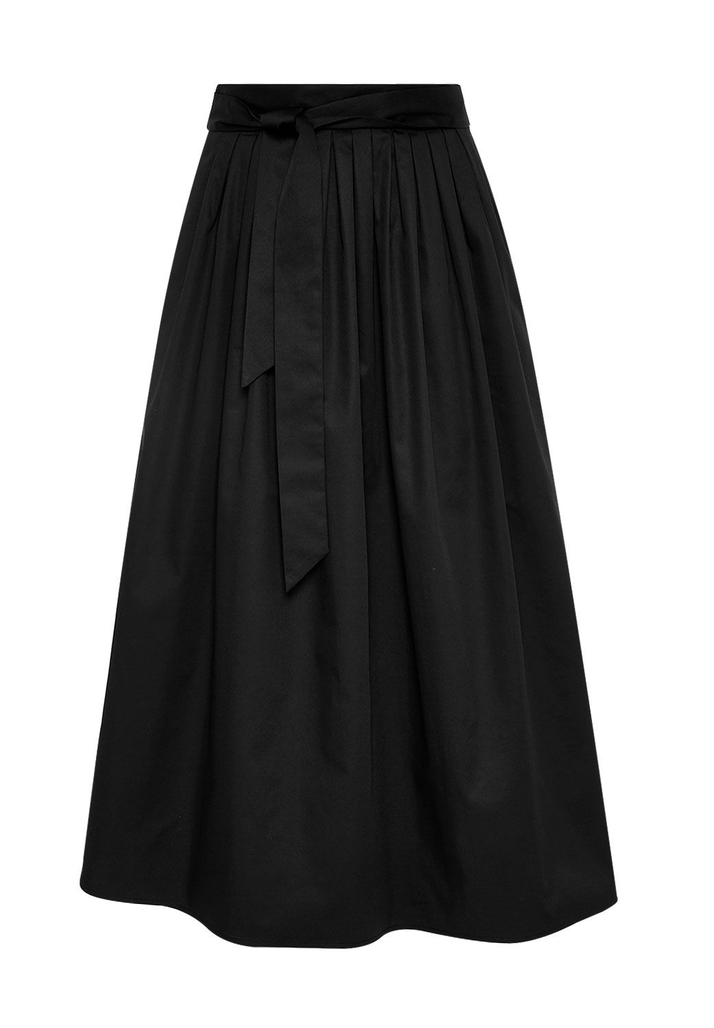 Hallhuber Midi skirt with box pleat and belt, Black