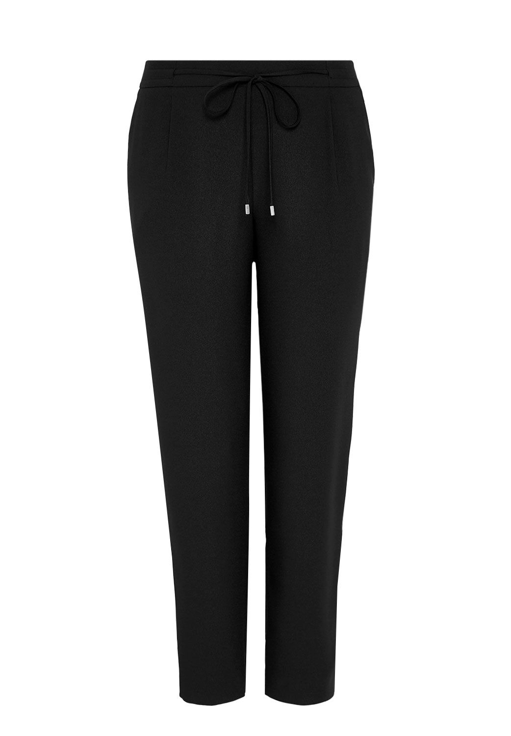 Hallhuber Trousers with elastic band and ribbon, Black