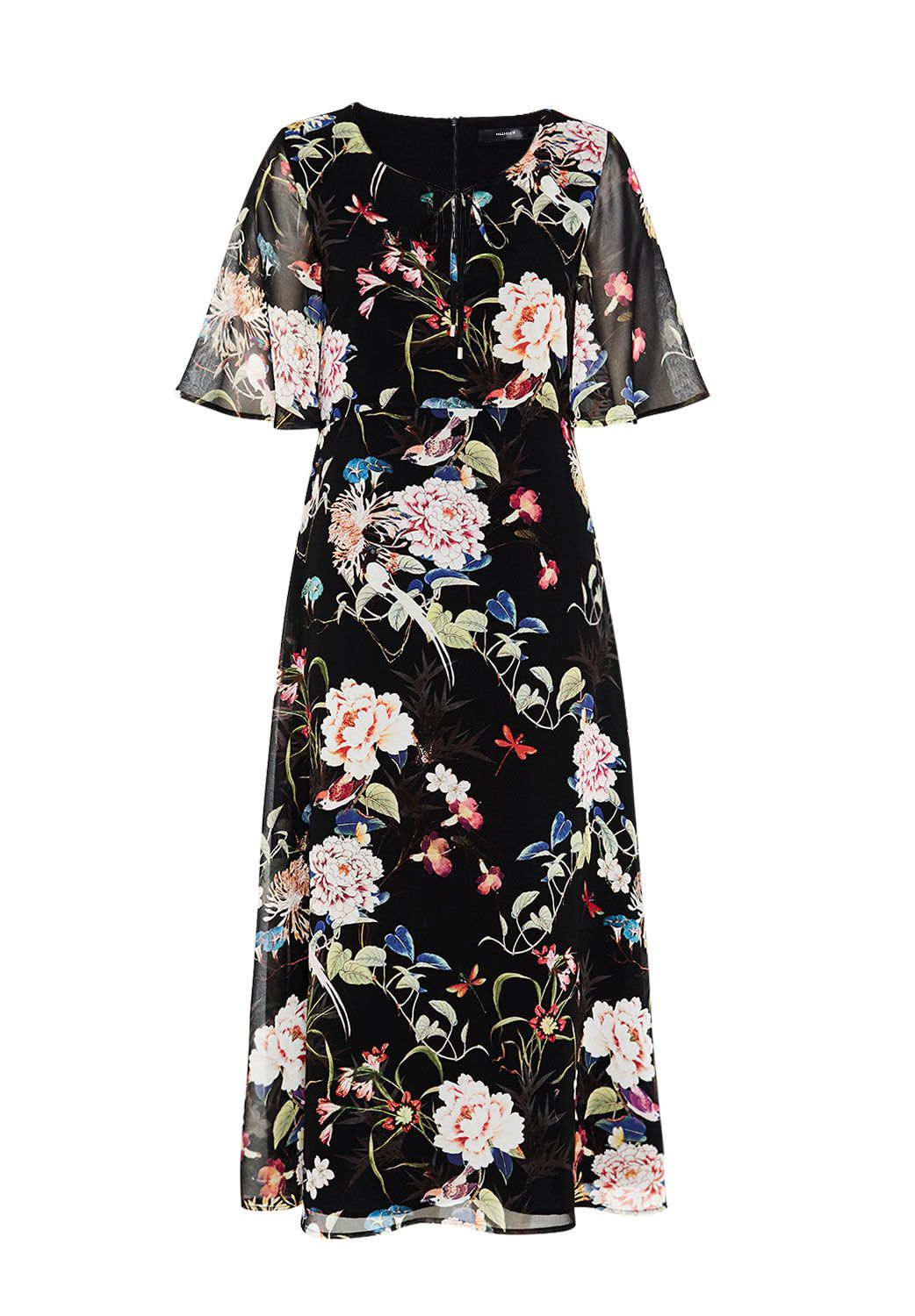 Hallhuber Midi dress with maxi floral print, Black