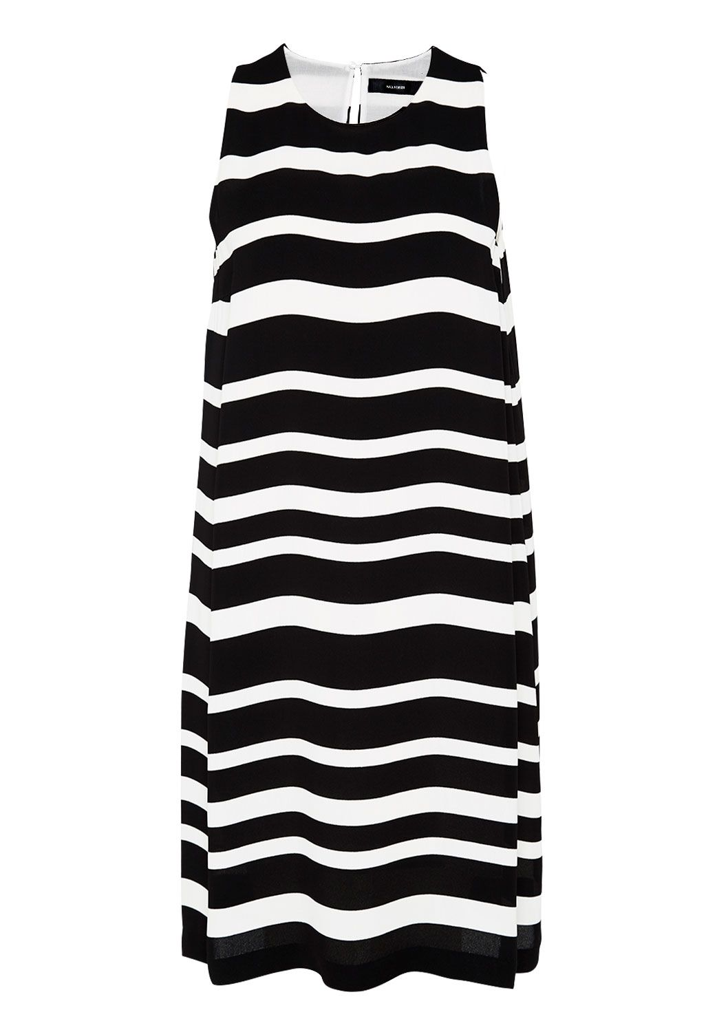 Hallhuber Stripe dress with subtle A-line cut, Black