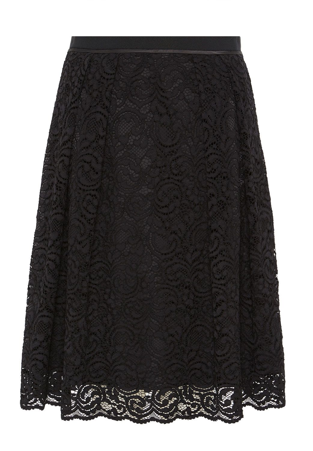 Hallhuber Hallhuber Lace skirt with grosgrain waist, Black