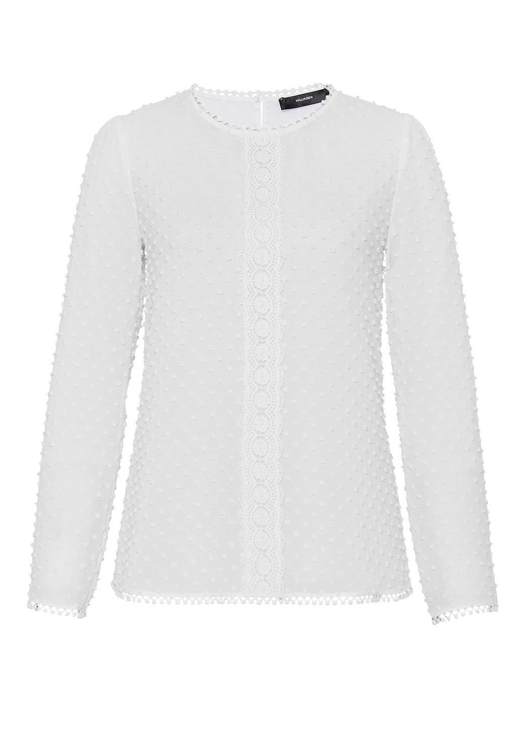 Hallhuber Hallhuber Blouse with embroidered polka dots, White