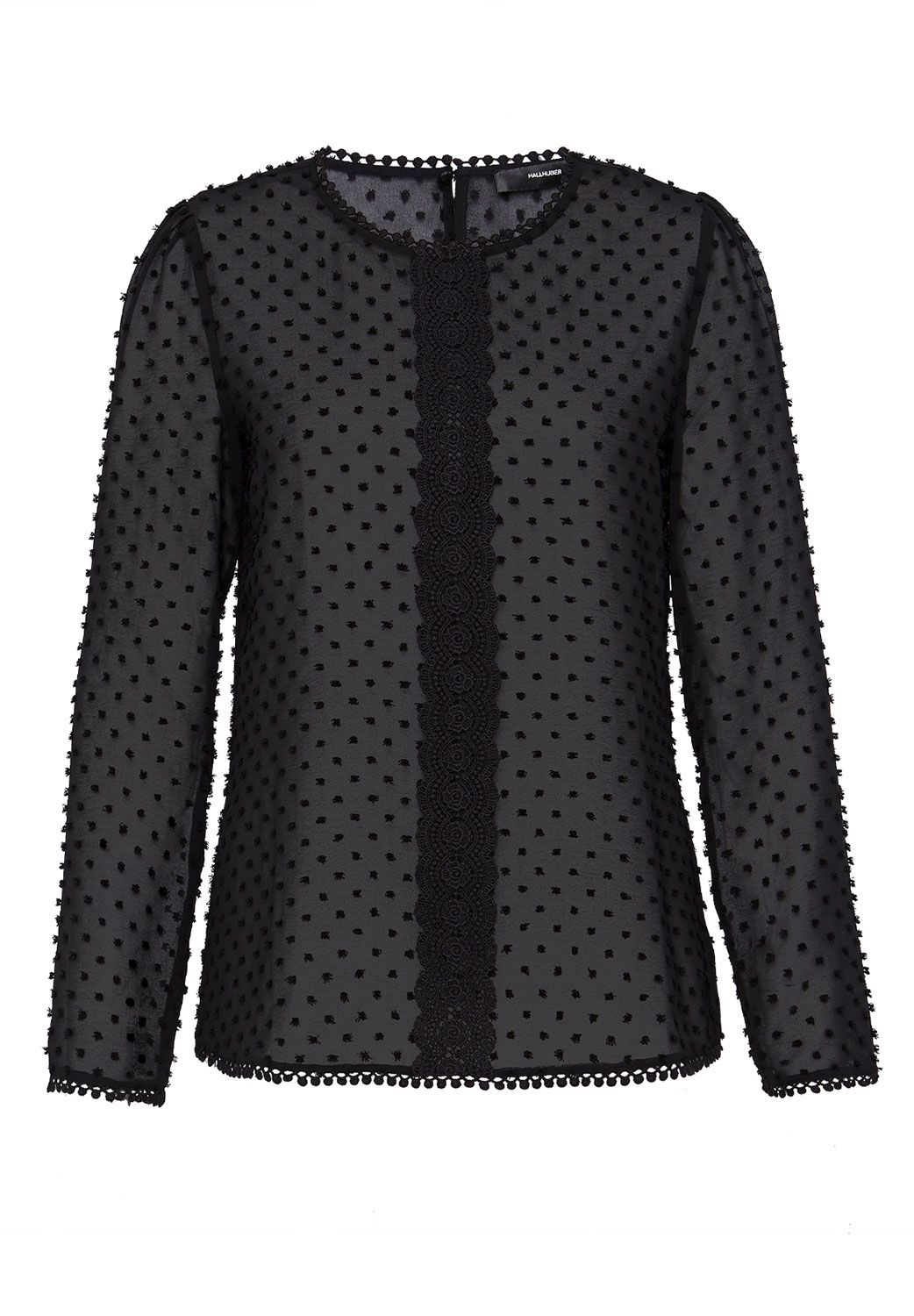 Hallhuber Hallhuber Blouse with embroidered polka dots, Black