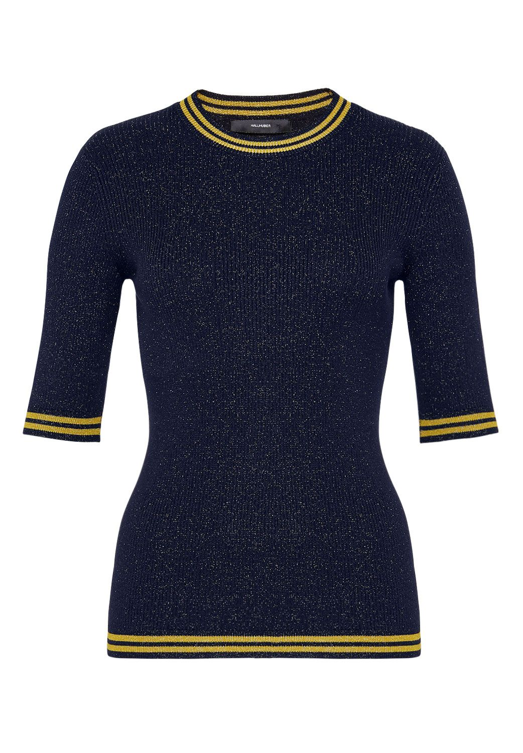 Hallhuber Hallhuber Lurex jumper with striped cuffs, Blue