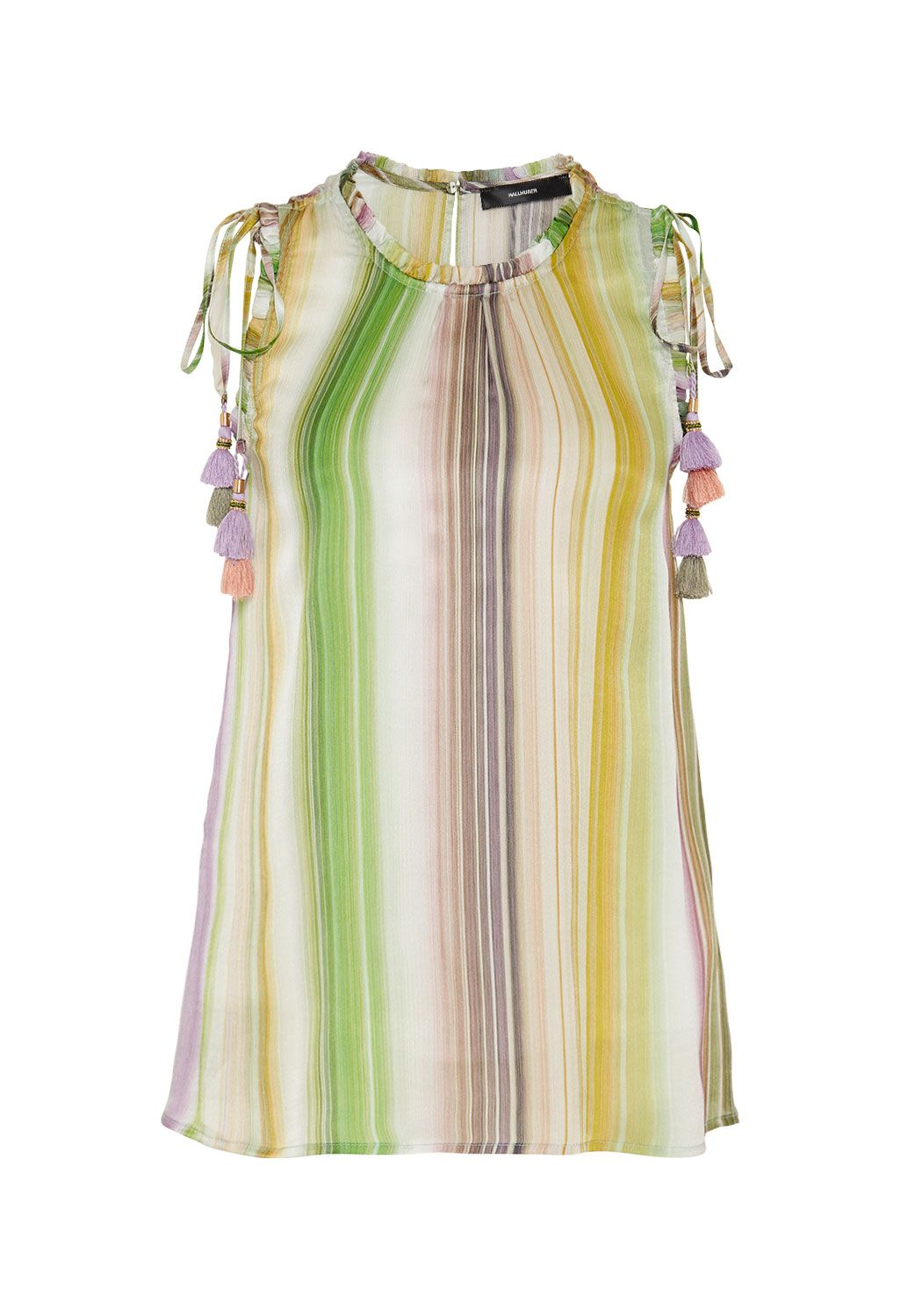 Hallhuber Rainbow-striped silk top, Multi-Coloured