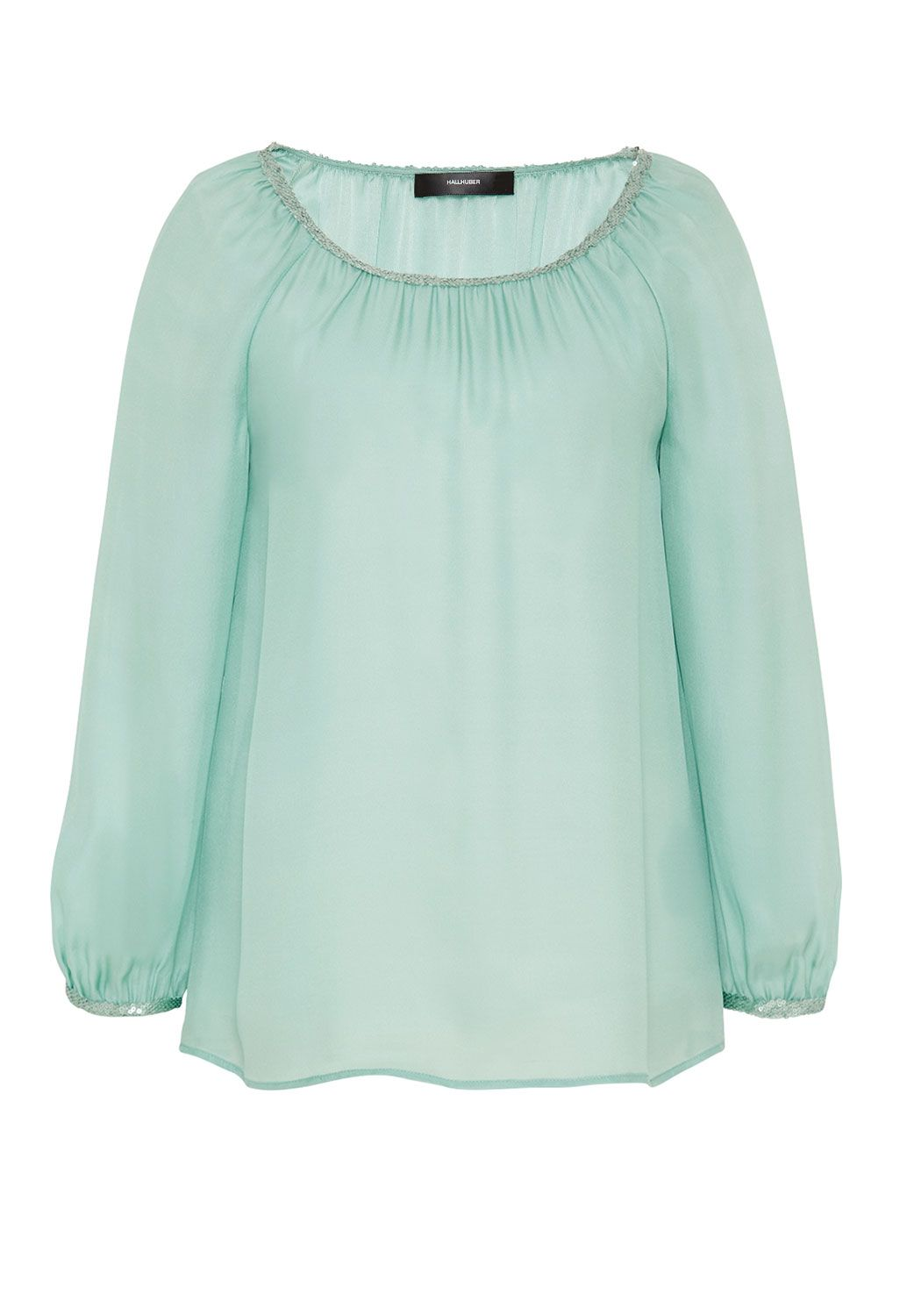 Hallhuber Silk blouse with sequin ribbons, Aqua