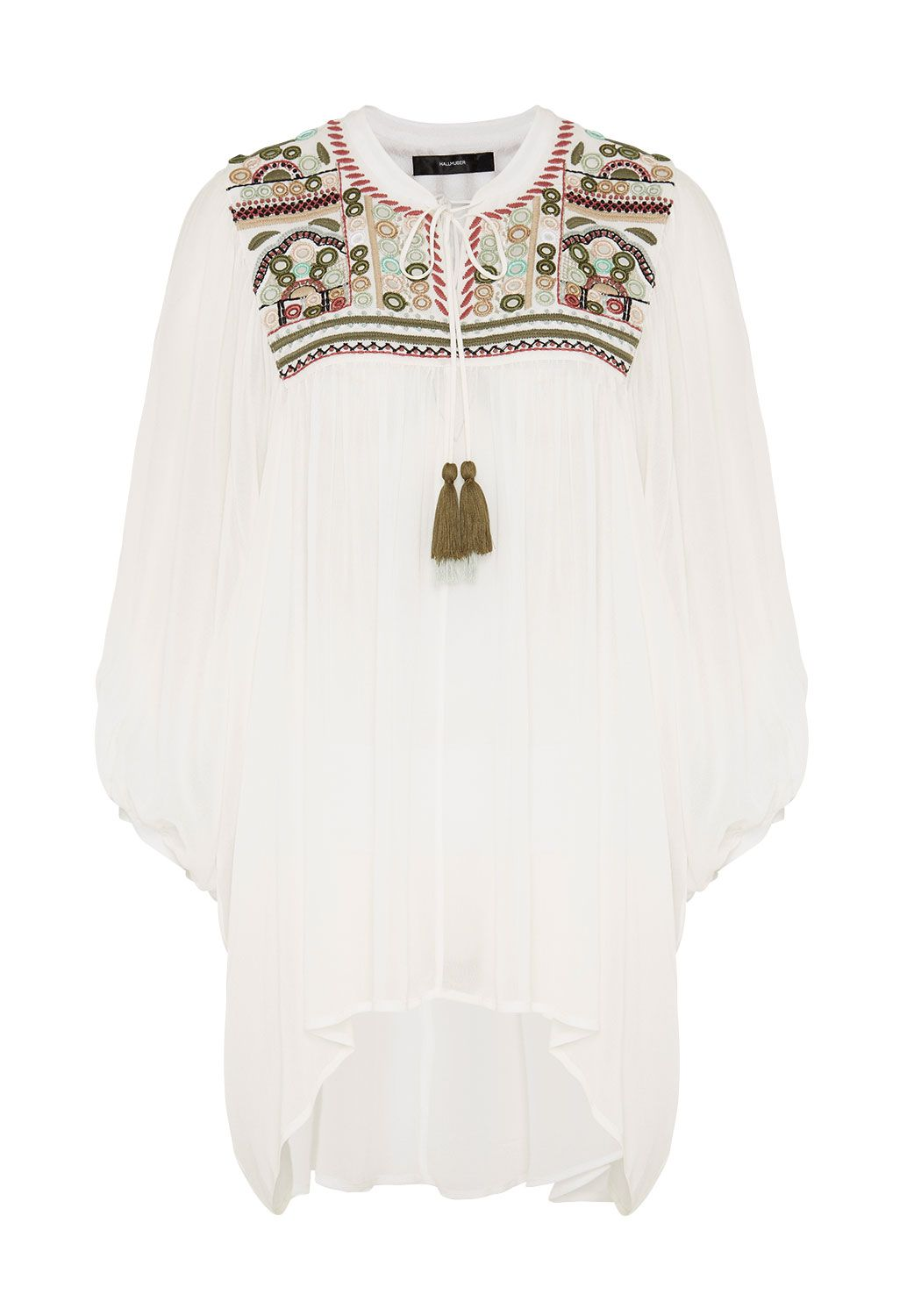 Hallhuber Long tunic with ethnic embroidery, White