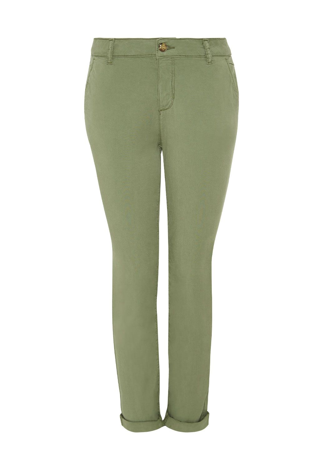 Hallhuber Cropped Tencel chinos, Green