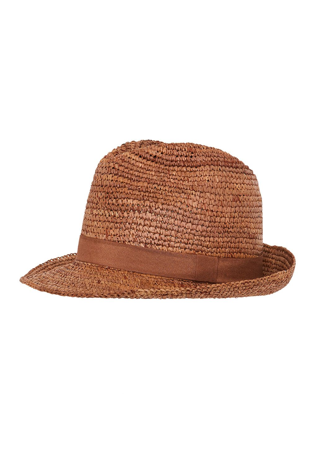 Hallhuber Trilby with grosgrain ribbon Brown