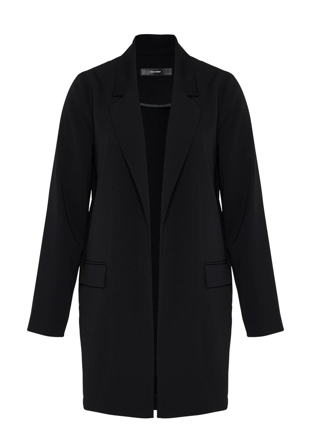 Hallhuber Long Blazer with Open Front, Black