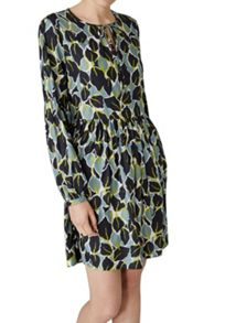 Hallhuber Floral Print Swing Dress Made Of Satin