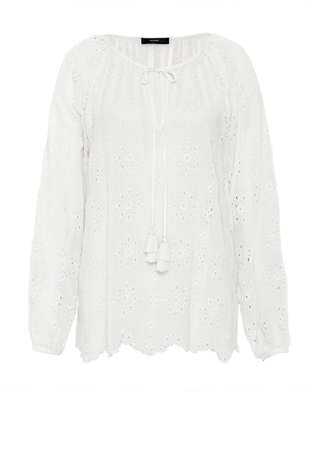 Hallhuber Sheer eyelet stitch tunic, White
