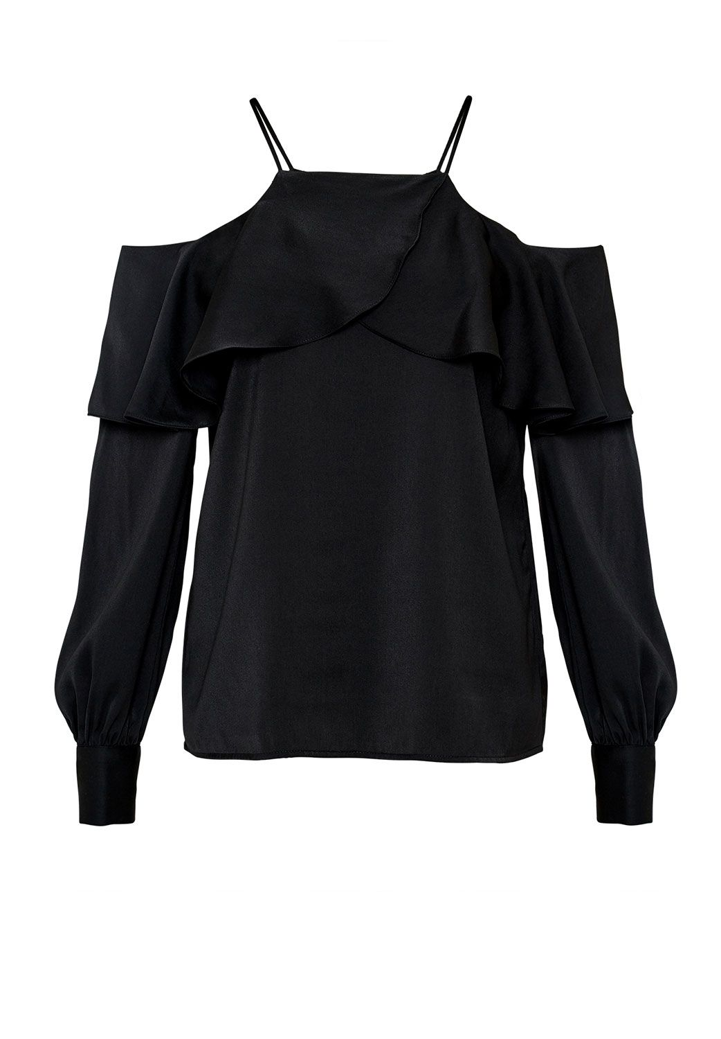 Hallhuber Flounced off-the-shoulder blouse, Black