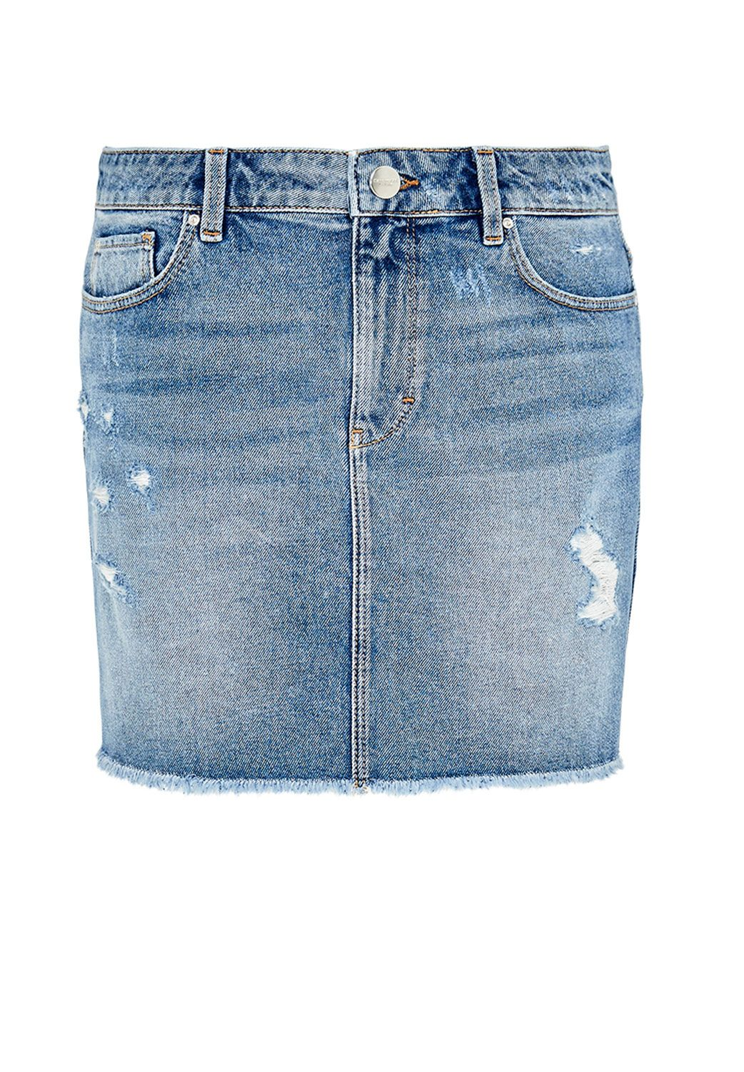 Hallhuber Pre-destroyed denim mini skirt, Blue