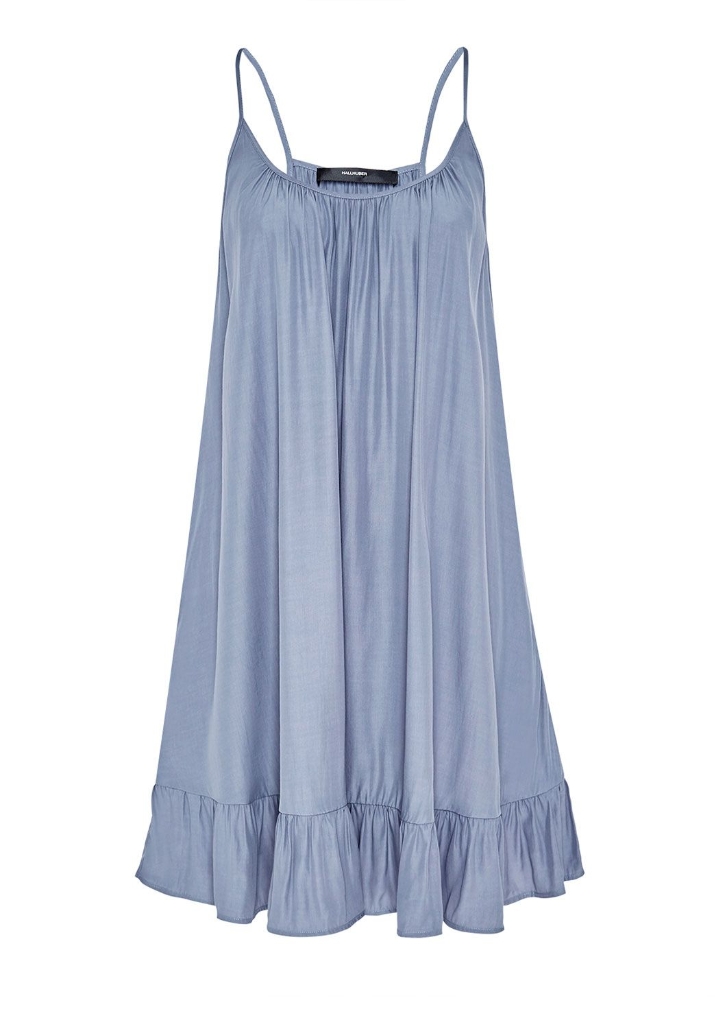 Hallhuber Wide spaghetti strap dress with ruffle, Blue