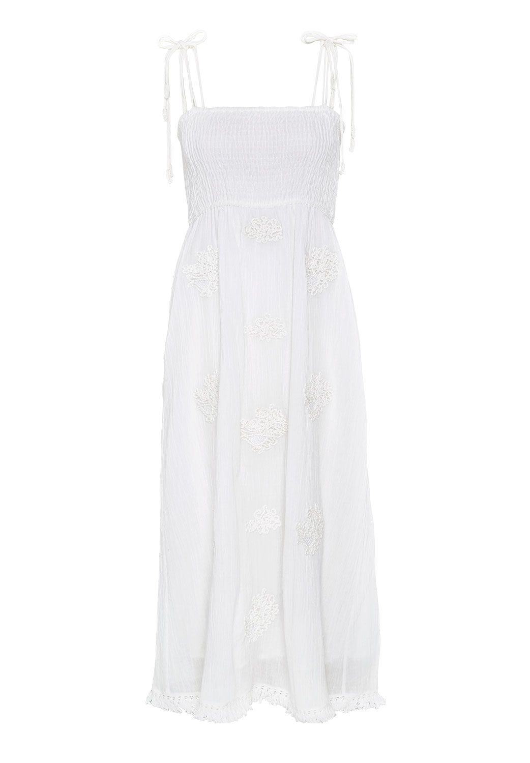 Hallhuber Smocked midi dress with appliques, White