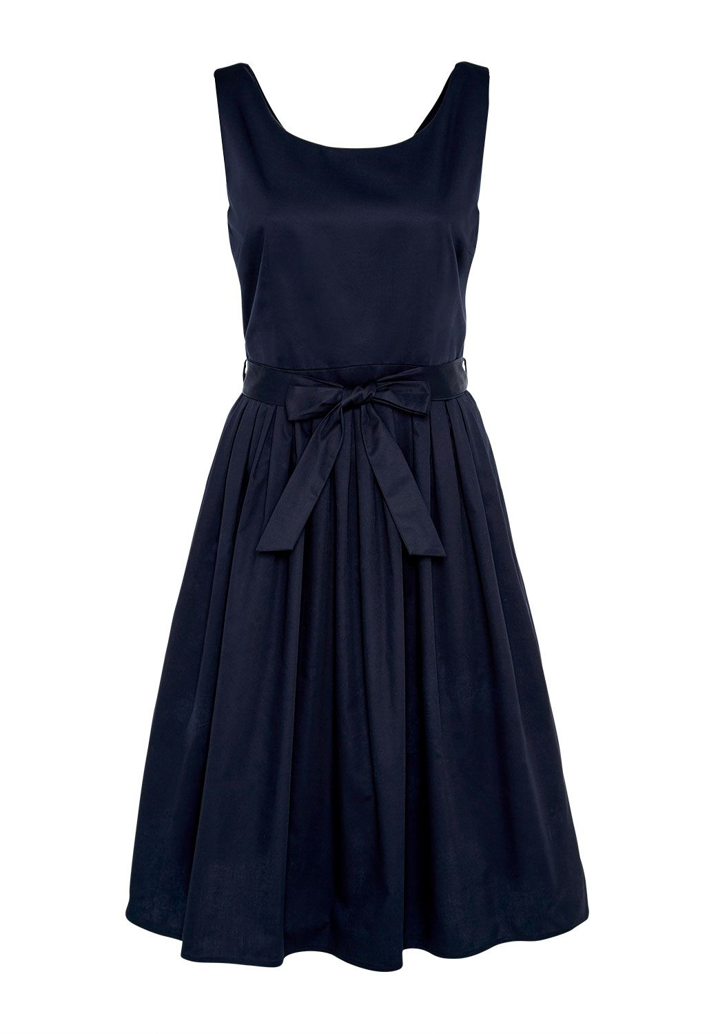 Hallhuber Pleated strap dress with belt, Blue