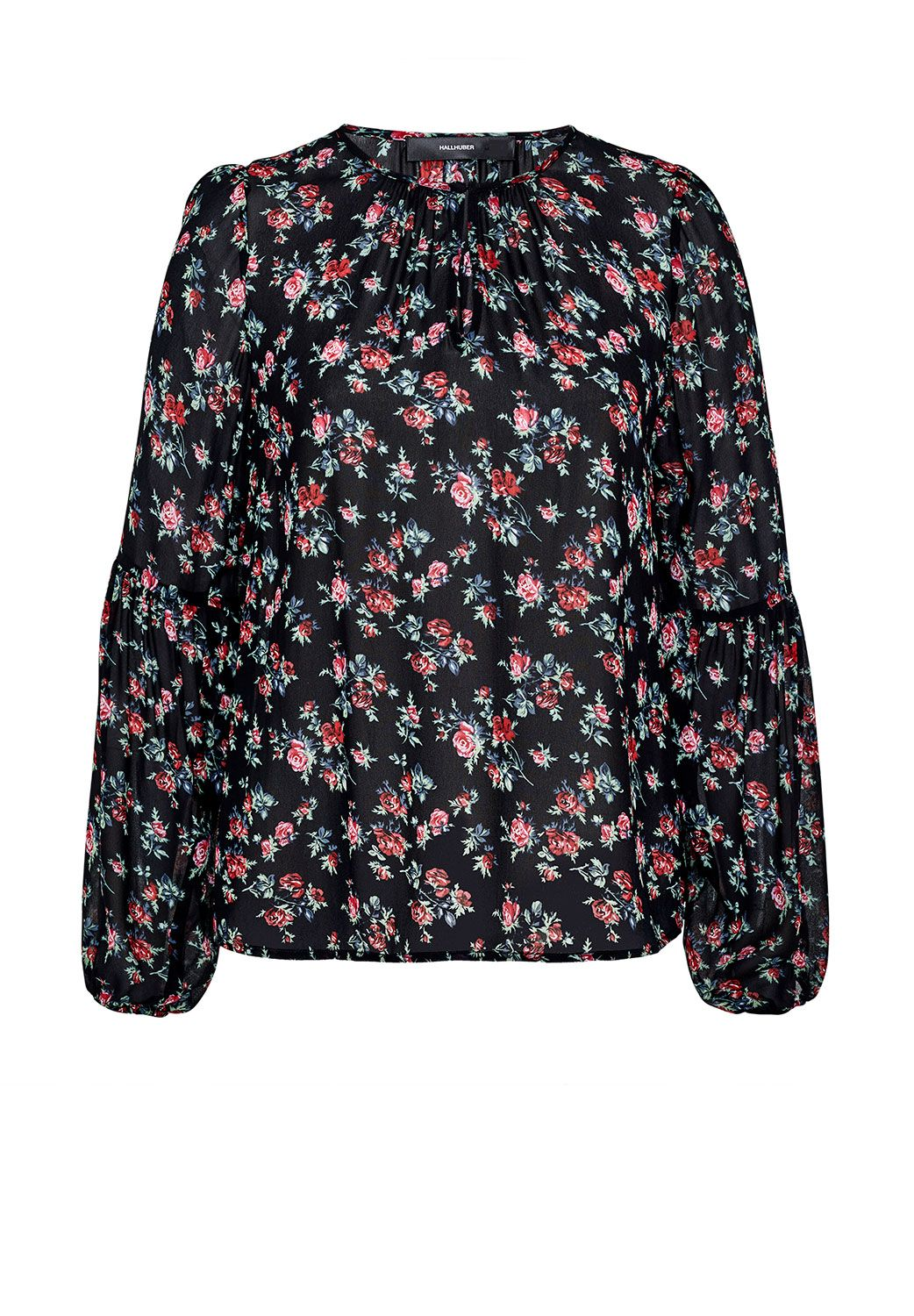 Hallhuber Rose print blouse with balloon sleeves, Multi-Coloured
