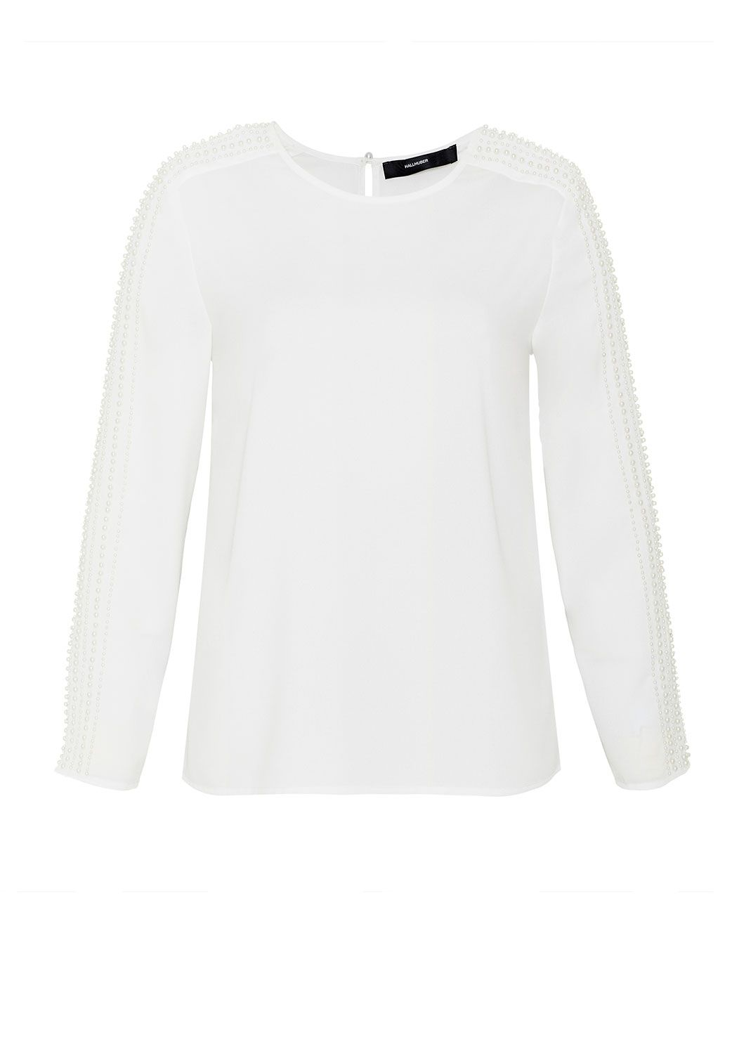 Hallhuber Bead embroidered blouse, White